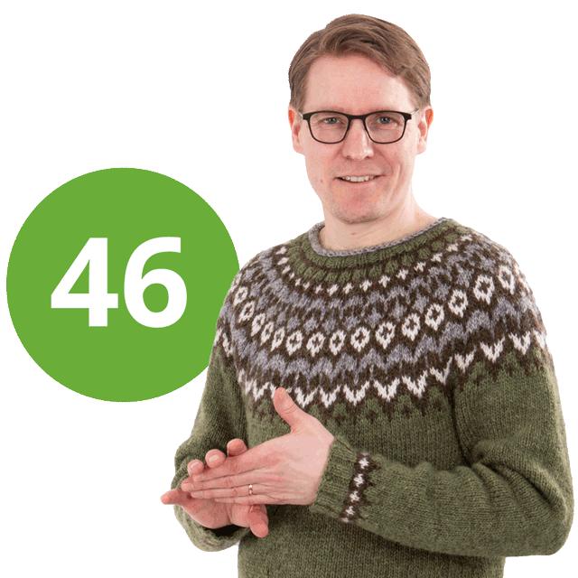 Kuvassa Vesa Linnanmäki yllään villapaita, äänestysnumero 46