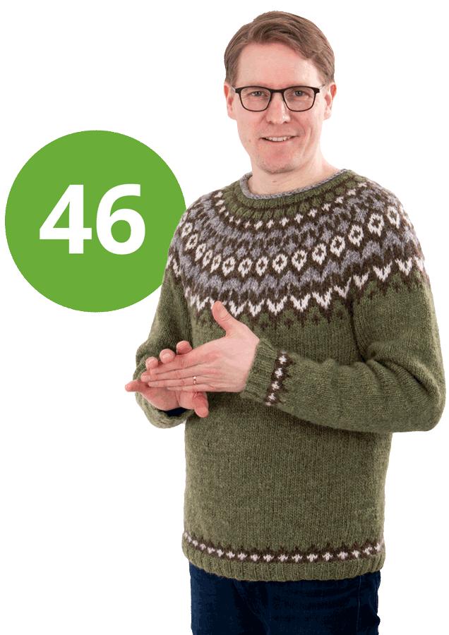 Vesa Linnanmäki villapaita yllään, sekä äänestysnumero 46